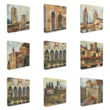 Italian Tuscan Architecture 9 Piece Graphic Art on Wrapped Canvas Set