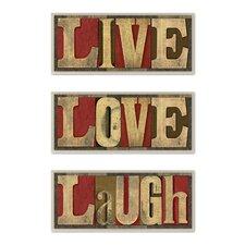 """Live Love Laugh"" Inspirational 3 Piece Textual Art Set"