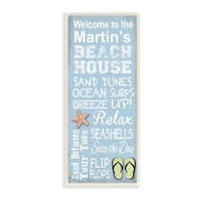 Personalized Beach House Starfish and Sandals by Janet White Textual Art Plaque