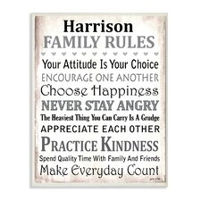 Personalized Family Rules Textual Art Plaque