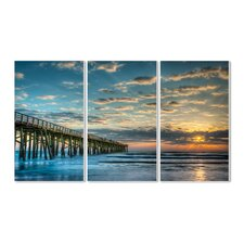Docking at Sundown Triptych 3 Piece Wall Plaque Set