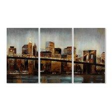 Lights on Bridge Triptych 3 Piece Wall Plaque Set