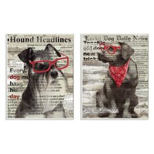 Dogs with Red Sunglasses on Newsprint by Carol Robinson 2 Piece Textual Art on Plaque Set