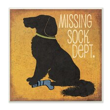 Missing Sock Dept. and Dog by Jo Moulton Textual Art on Plaque