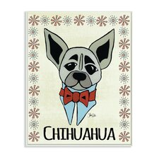 Whimsical Chihuahua Wearing Bow Tie by Shanni Welsh Graphic Art on Canvas