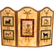 Five Dogs 3 Panel Fireplace Screen