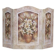 Lily Flower 3 Panel Fireplace Screen