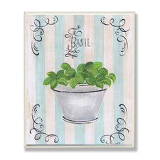 Basil and Thyme in White Pot Kitchen Wall Plaque