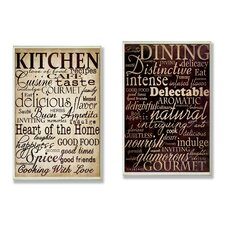 Dining and Kitchen 2 Piece Kitchen Typography Wall Plaque Set