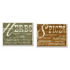 Herbs and Spices 2 Piece Kitchen Typography Wall Plaque Set