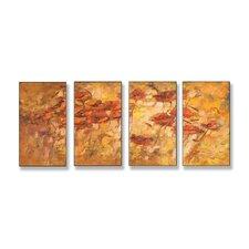 Fall Wind Scene Quadtych 4 Piece Wall Plaque Set