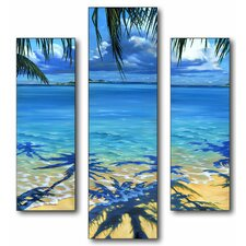 Palm Tree Shadows Triptych 3 Piece Wall Plaque Set