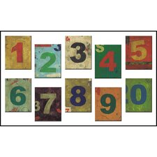 The Kids Room 10 Piece Distressed Numbers Wall Plaque Set