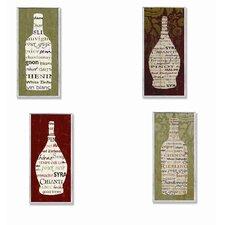 Wine Bottle Typography 4 Piece Wall Plaque Set