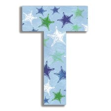 Oversized Distressed Stars Letter Hanging Initial
