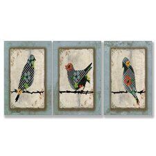 Song Bird Triptych 3 Piece Wall Plaque Set