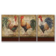 Le Coq Triptych 3 Piece Wall Plaque Set