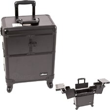 Smooth Black Professional Rolling Cosmetic Makeup Train Case