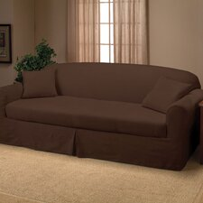Microsuede 2-Piece Sofa Slipcover in Chocolate
