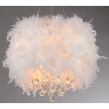 Iglesias 3 Light Fluffy White Feathers and Crystal Drum Pendant