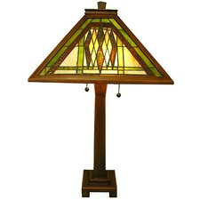"""Mission Hand-Cut 28"""" H Table Lamp with Empire Shade"""