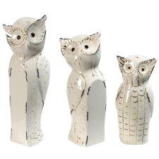 3 Piece Owl Family Decor Statue Set