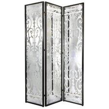 "78"" x 54"" Decorative Screen Glass/Iron 3 Panel Room Divider"