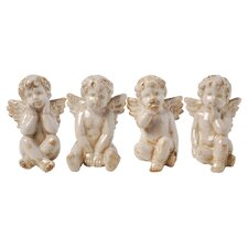 Sitting Cherub Statuette (Set of 4)