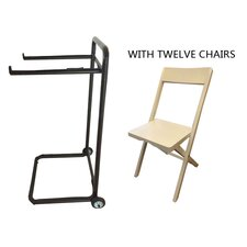13 Piece Standard Flat Side Chair Set with Trolley