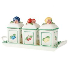 French Garden 3 Piece Charm Jampot with Tray Tea Kettles Set