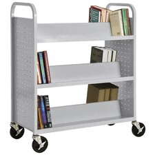 Double-Sided Sloped Shelf Book Cart