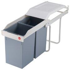Einbau-Mülltrenn-System 2x15 Multi-Box aus Stahlblech in Cremeweiß