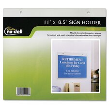 Clear Plastic Sign Holder, Wall Mount, 8 1/2 X 11