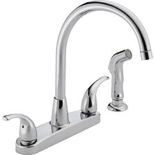 """3.75"""" Two Handle Centerset Kitchen Faucet with Sink Spray"""
