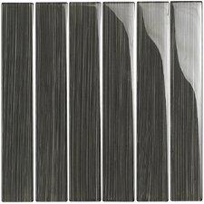 "Brushstrokes 2"" x 12"" Glass Mosaic Tile in Gray"