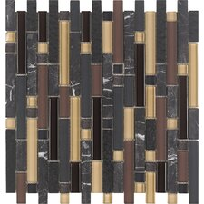 Varietals Pinot Noir Random Sized Stone and Glass Mosaic Tile in Multi