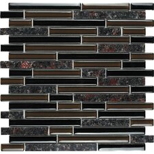 Spectrum Random Sized Stone and Glass Mosaic Tile in Baltic Brown