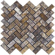Scabos Herringbone Travertine Mosaic Tile in Multi