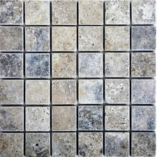 """2"""" x 2"""" Travertine Mosaic Tile in Silver"""