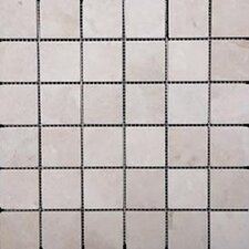 1'' x 1'' Travertine Mosaic Tile in Ivory