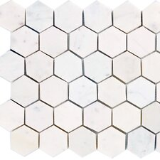 """2"""" x 2"""" Marble Mosaic Tile in White"""