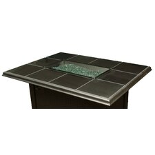 Napa Valley Crystal Fire Pit Table Metal Base Granite Tiles and Burner