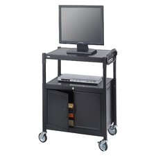 Adjustable Mobile AV Cart with Locking Cabinet