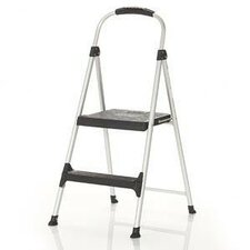 Signature 2-Step Aluminum Step Stool with 225 lb. Load Capacity with Plastic Step