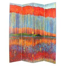 """72"""" x 64"""" Fall in the Forest 4 Panel Room Divider"""