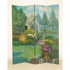"72"" x 64"" Covered Bridge in the Countryside 4 Panel Room Divider"