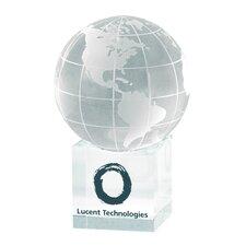"""Clear Cube"" Globe and Base Award"