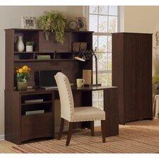 Buena Vista Corner Executive Desk with Hutch and 2-Door Tall Storage Cabinet