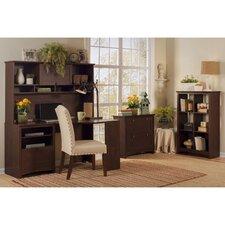 Buena Vista Corner Executive Desk with Hutch, 6-Cube Bookcase and  Lateral File