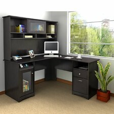 Cabot L-Shaped Computer Desk with Hutch